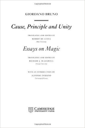 Cause, Principle and Unity & Essays on Magic